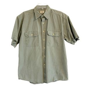 LL BEAN Short Sleeve Denim Button Up Shirt Green